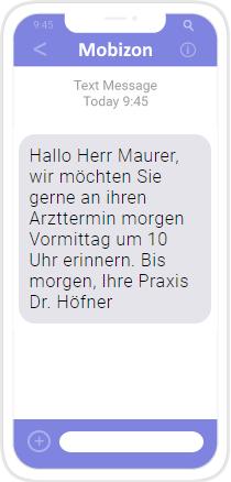 SMS: Arztterminerinnerung