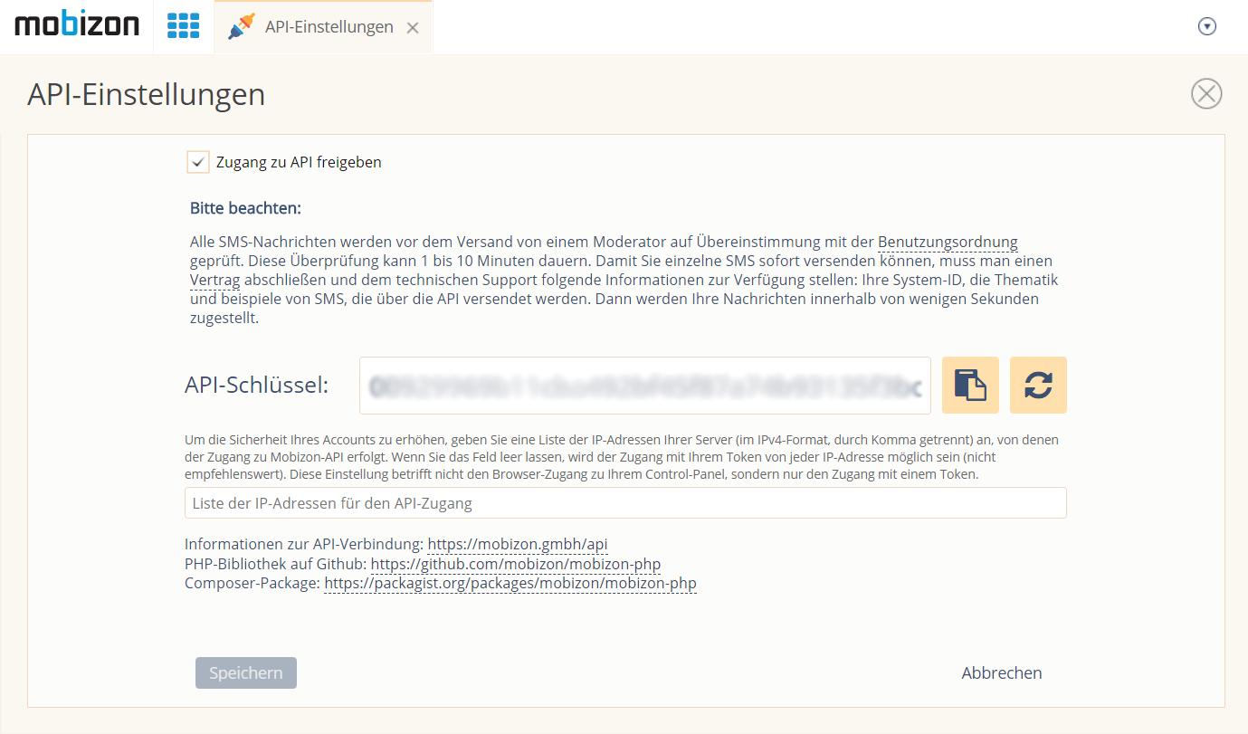 Aktivieren Sie die Option Zugang zur API einschalten